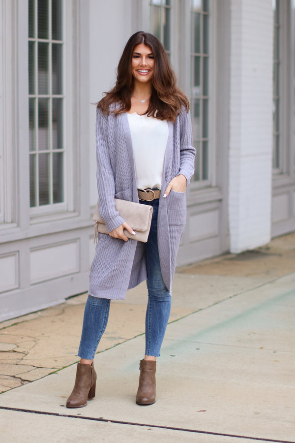 Gray / S Chrisley Ribbed Knit Cardigan - Gray - Madison + Mallory
