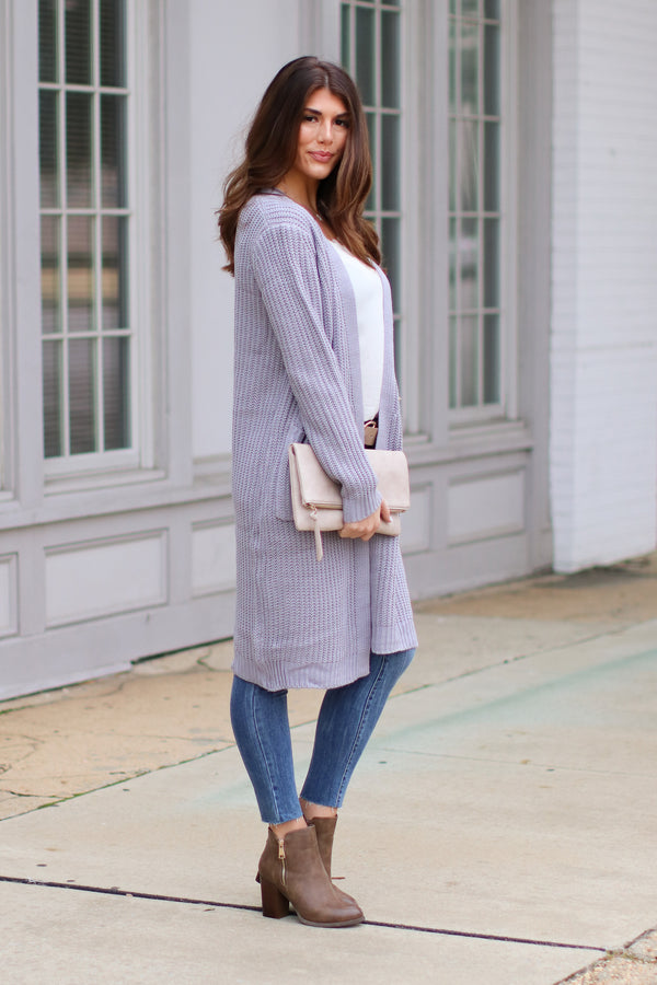 Chrisley Ribbed Knit Cardigan - Gray - Madison + Mallory