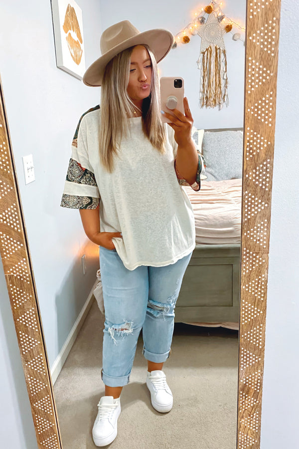 Believe in This Mix Print Sleeve Top - Madison and Mallory