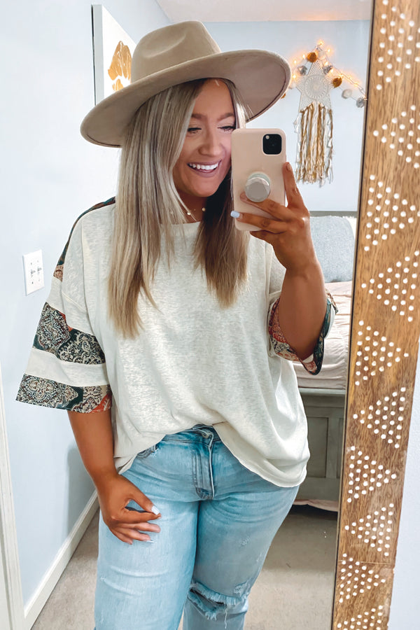 S / White Believe in This Mix Print Sleeve Top - Madison and Mallory
