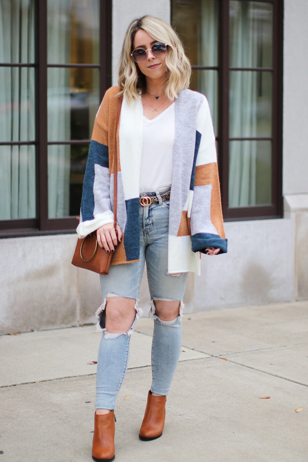 Meet You There Color Block Cardigan - Madison + Mallory