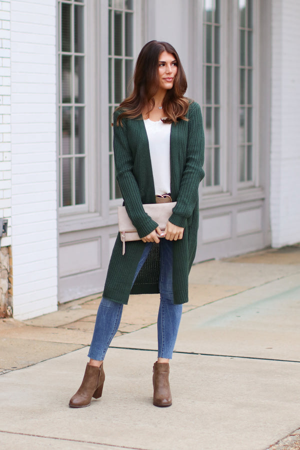 Green / S *DOORBUSTER* Chrisley Ribbed Knit Cardigan - Green - Madison + Mallory