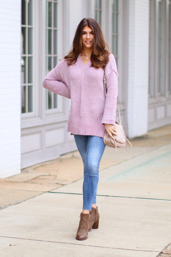 Tamarosa Chenille Tunic Sweater - Lavender - Madison + Mallory