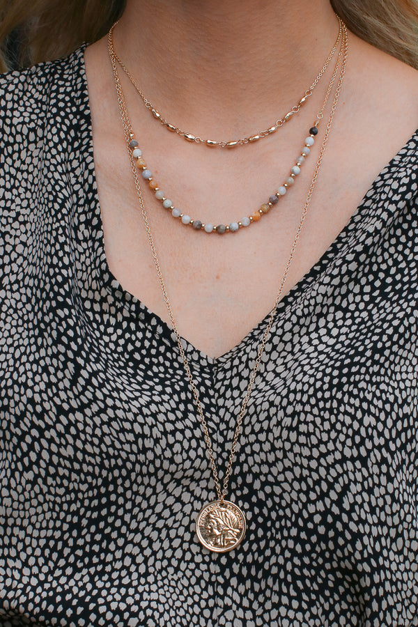 OS / Natural Tatiana Coin Layered Necklace - Madison and Mallory