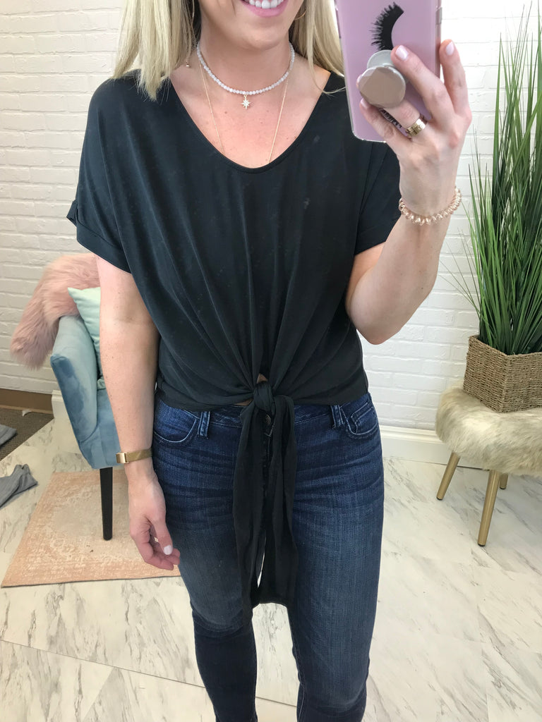S / Black Sarah Tie Front Top - Madison + Mallory