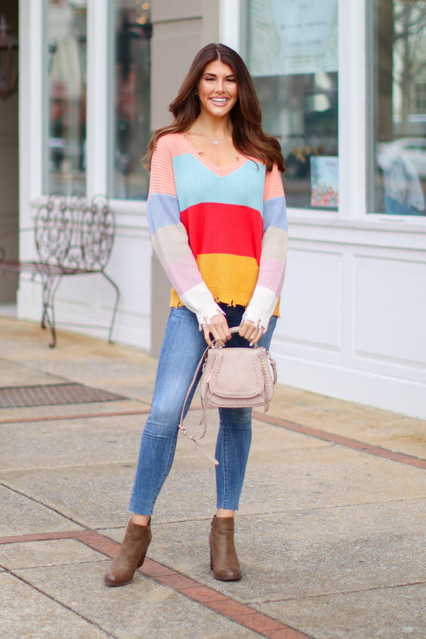 Calverton Color Block Frayed Sweater - Madison + Mallory