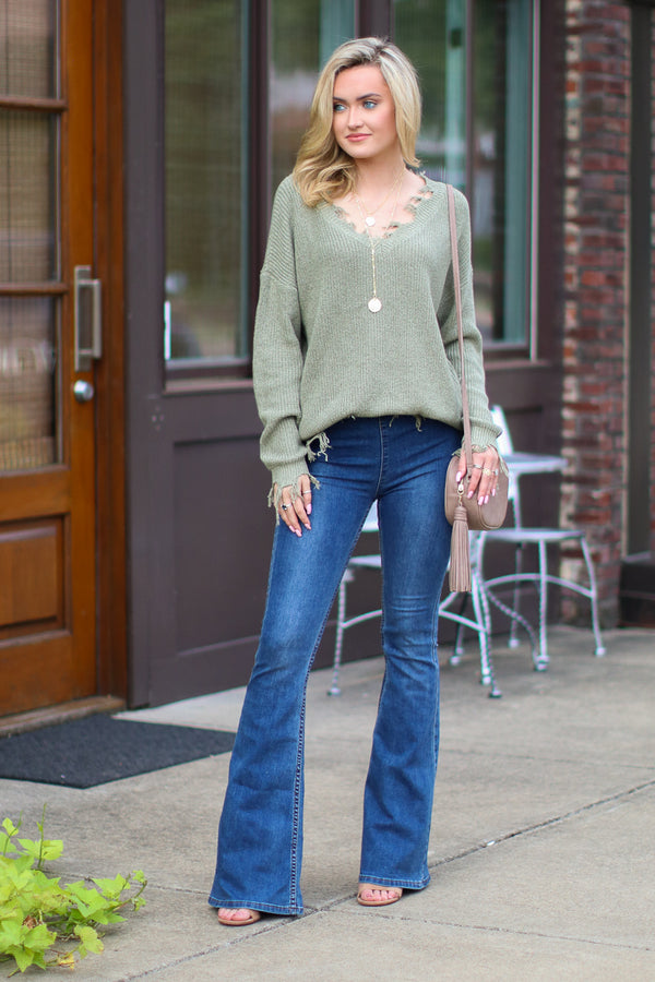Believe it or Not Frayed Edge Sweater - Madison + Mallory