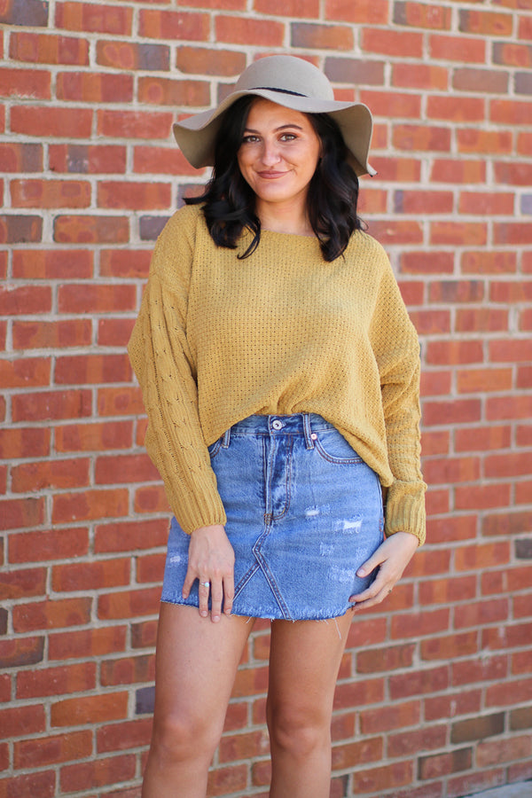 S / Mustard Rock with You Sweater - Madison + Mallory
