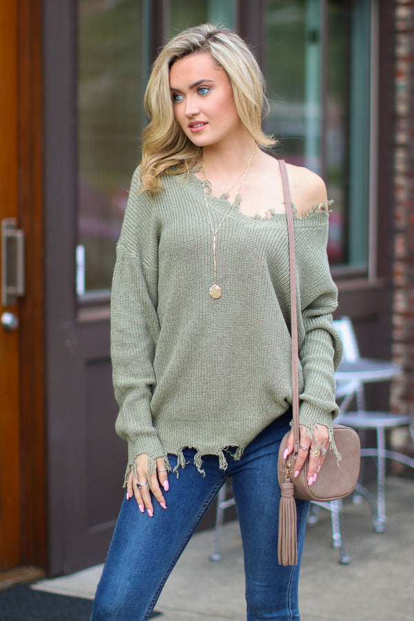 SM / Olive Believe it or Not Frayed Edge Sweater - Madison + Mallory