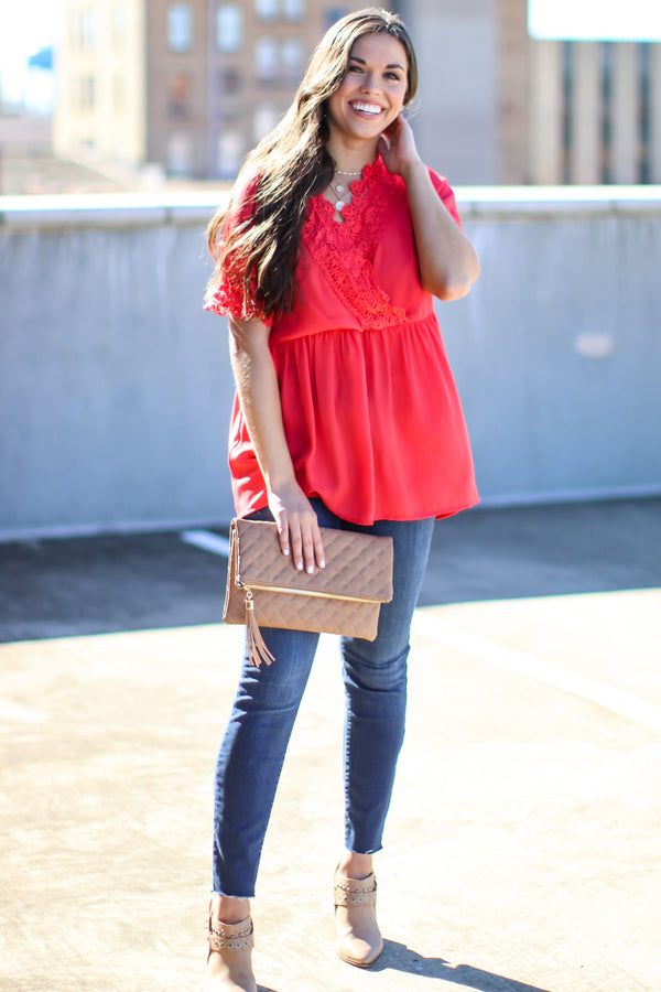S / Red Time Flies Woven Lace Babydoll Top - Madison and Mallory