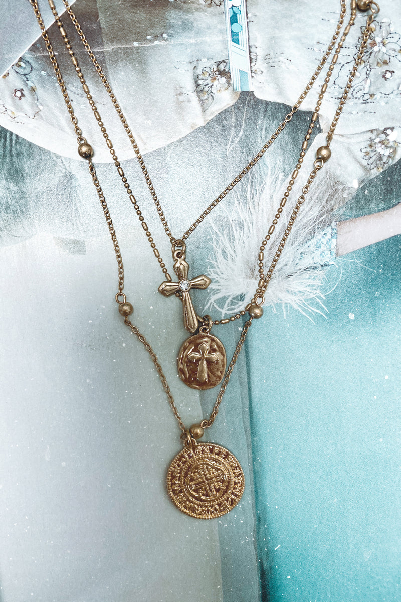 Gold Giada Layered Coin Charm Necklace - Madison and Mallory