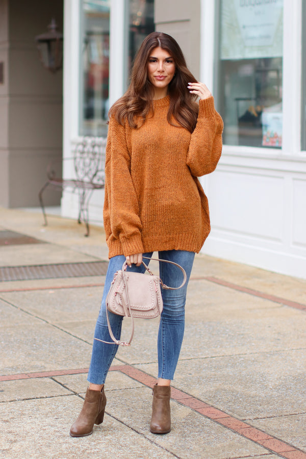 *DOORBUSTER* Wallace Knit Balloon Sleeve Sweater - Rust - Madison + Mallory