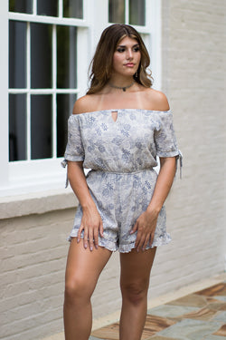 S / Taupe Off Shoulder Tie Sleeve Romper - Madison + Mallory