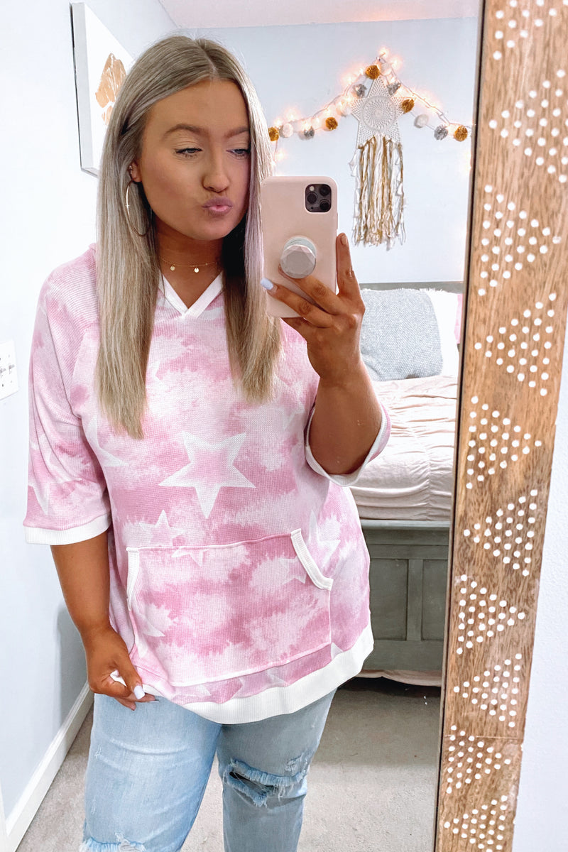 Khaleesi Tie Dye Star Hooded Top - Pink - Madison and Mallory