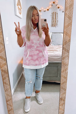 Pink / S Khaleesi Tie Dye Star Hooded Top - Pink - Madison and Mallory