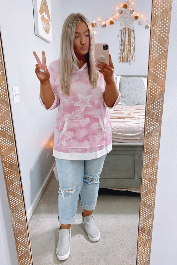 Pink / S Khaleesi Tie Dye Star Hooded Top - Pink - FINAL SALE - Madison and Mallory