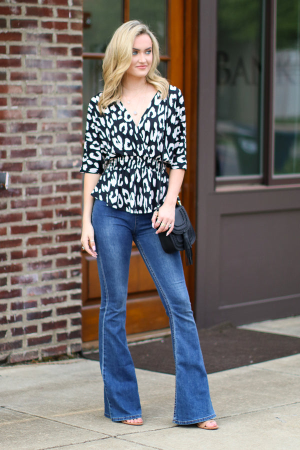 Unlikely Romance Leopard Surplice Top - Madison + Mallory