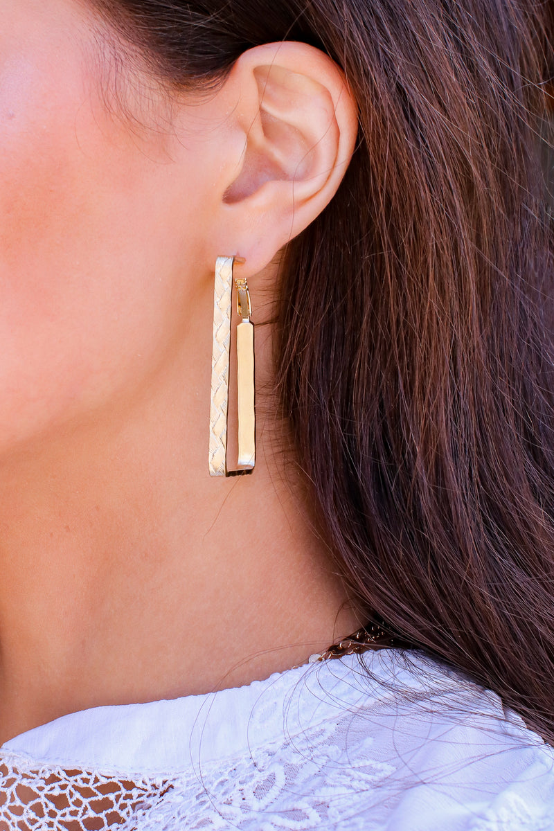 Matte Gold Artistic Outlook Square Hoop Earrings - Madison and Mallory