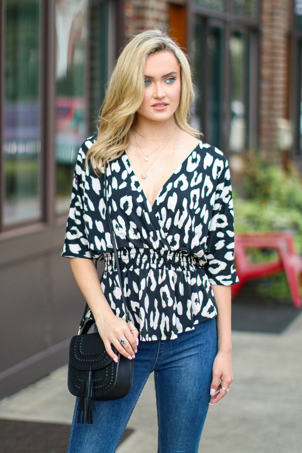 S / Black Unlikely Romance Leopard Surplice Top - Madison + Mallory