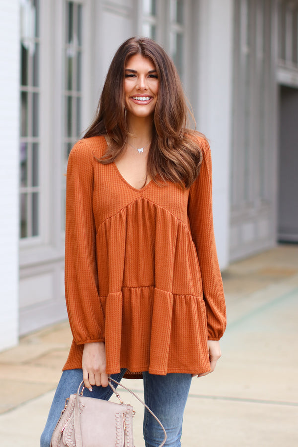 S / Rust Laurinburg Waffle Knit Tiered Top - Madison + Mallory