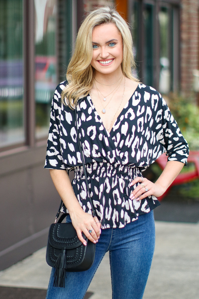 Unlikely Romance Leopard Surplice Top - FINAL SALE - Madison + Mallory