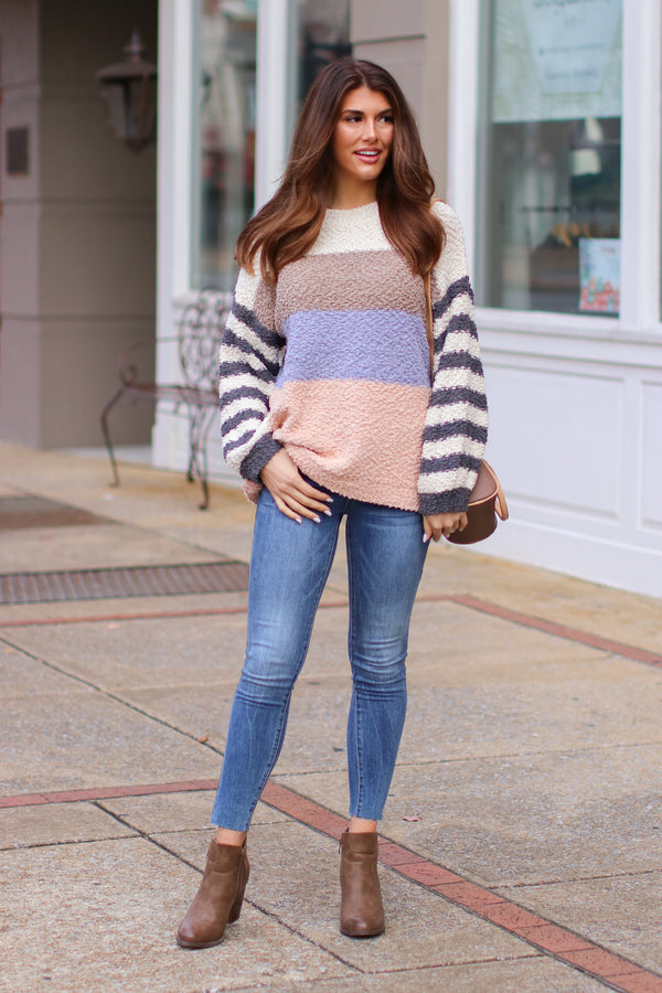 Finesse Popcorn Color Block Striped Sweater - Madison + Mallory