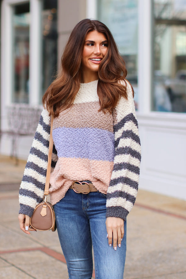 S / Cream Finesse Popcorn Color Block Striped Sweater - Madison + Mallory