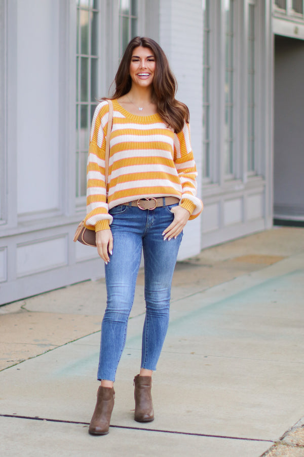Allegany Striped Knit Sweater - FINAL SALE - Madison and Mallory