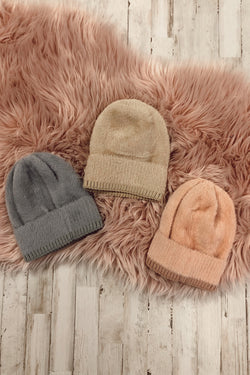 OS / Gray First Snowfall Fuzzy Knit Beanie | Doorbuster - Madison and Mallory