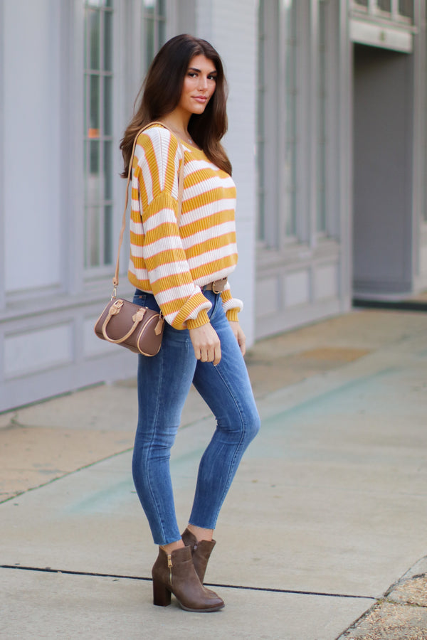 Allegany Striped Knit Sweater - Madison + Mallory