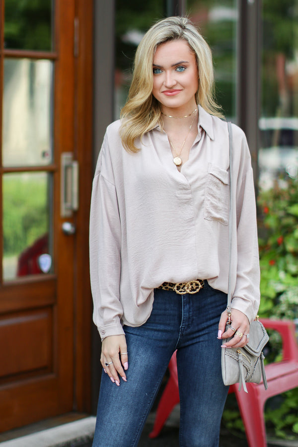 S / Taupe Tainted Love Flowy Pocket Top - Madison + Mallory