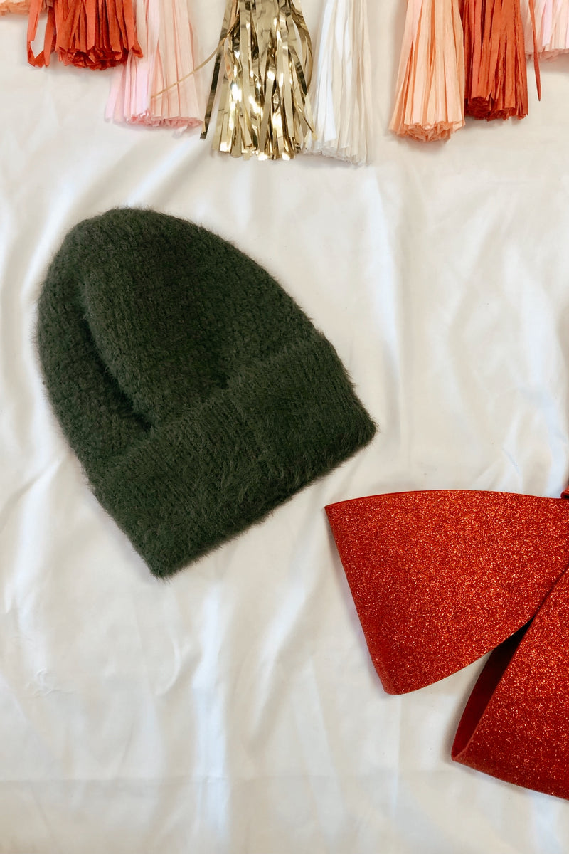 OS / Olive On the Slopes Fuzzy Ribbed Knit Beanie | Doorbuster - Madison and Mallory