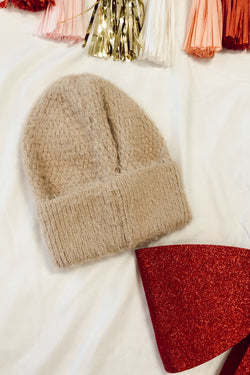 OS / Khaki On the Slopes Fuzzy Ribbed Knit Beanie | Doorbuster - Madison and Mallory