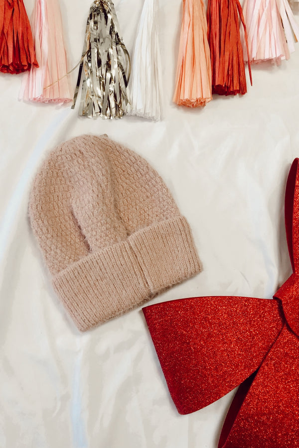 OS / Pink On the Slopes Fuzzy Ribbed Knit Beanie | Doorbuster - Madison and Mallory