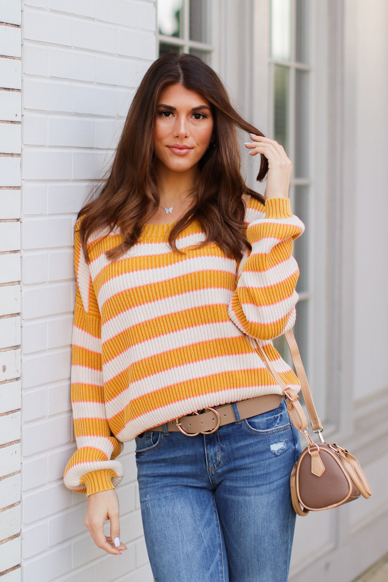 S / Mustard Allegany Striped Knit Sweater - Madison + Mallory
