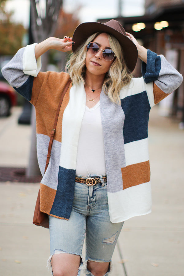S / Multi Meet You There Color Block Cardigan - Madison + Mallory