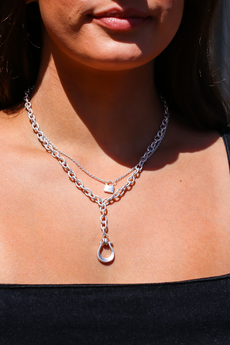 Silver Linked with You Layered Chain and Lock Necklace - Madison and Mallory