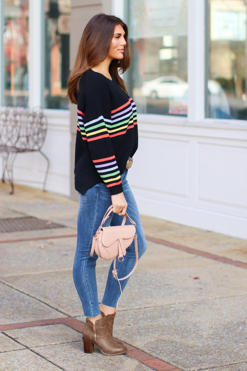 Double Rainbow Striped Sweater- FINAL SALE - Madison and Mallory