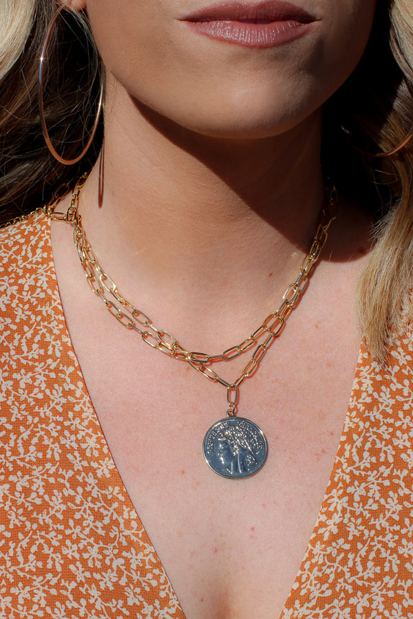 OS / Gold Clanton Layered Chain Coin Necklace - Madison + Mallory