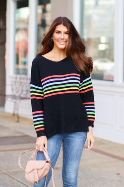 S / Black Double Rainbow Striped Sweater- FINAL SALE - Madison and Mallory