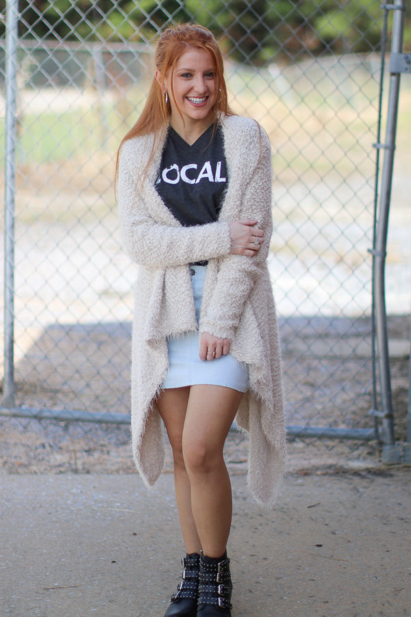 SM / Ivory Cadence Fuzzy Knit Cardigan | CURVE - FINAL SALE - Madison + Mallory