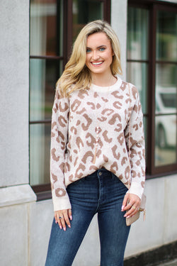 S / Cream Let Me Check Leopard Sweater - Madison and Mallory