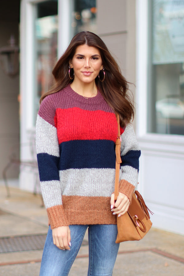 Red / S *DOORBUSTER* Kane Striped Knit Sweater - Red - Madison + Mallory
