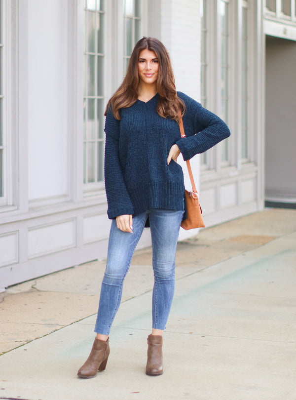 *DOORBUSTER* Tamarosa Chenille Tunic Sweater - Teal - Madison + Mallory