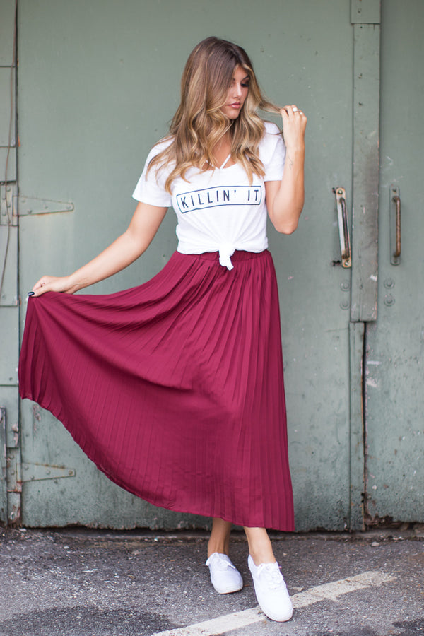 S / Burgundy Pretty in Pleats Skirt - Madison + Mallory