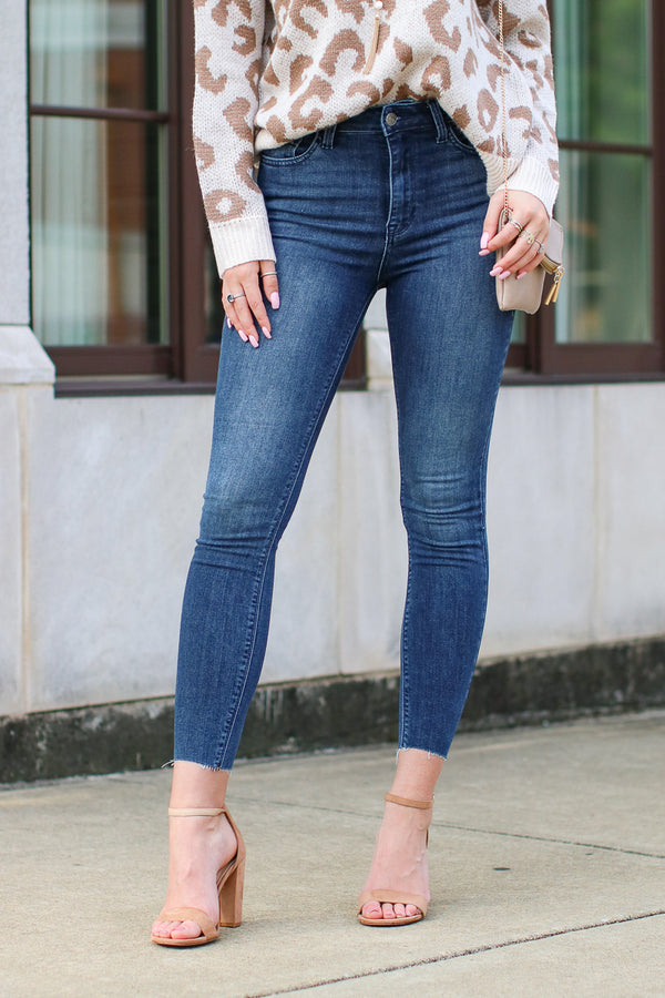 1 / Dark Catiana Dark Wash Skinny Jeans | CURVE - FINAL SALE - Madison and Mallory