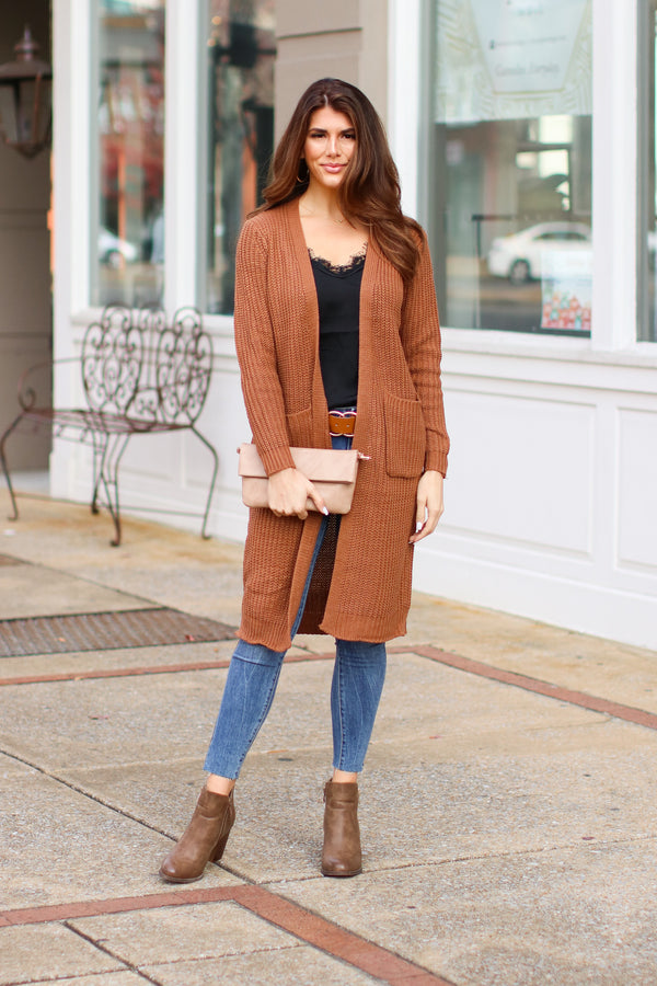 Mocha / S Chrisley Ribbed Knit Cardigan - Mocha - Madison + Mallory
