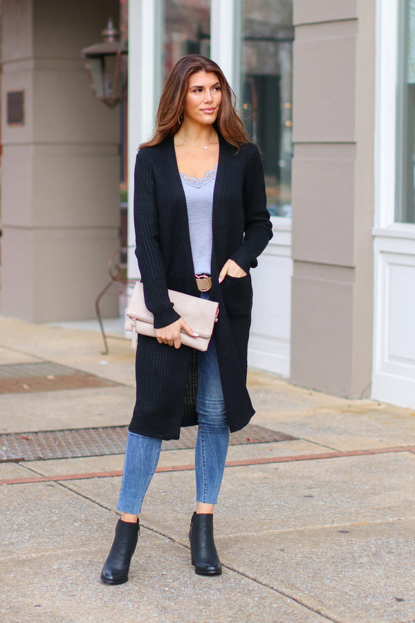 Black / S Chrisley Ribbed Knit Cardigan - Black - Madison + Mallory
