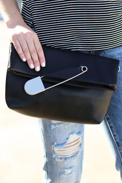 Black Can't Pin Me Down Safety Pin Clutch - Black - Madison and Mallory