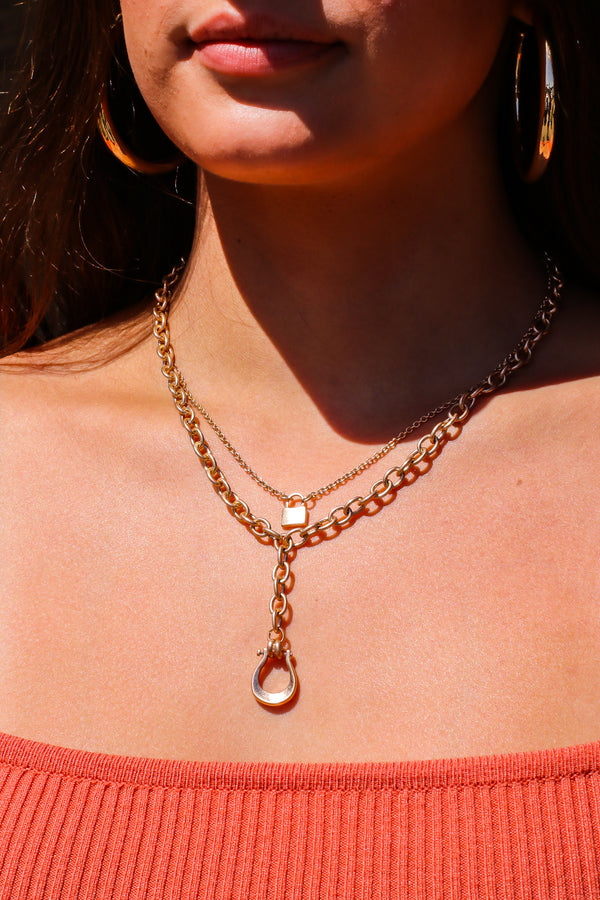 Gold Linked with You Layered Chain and Lock Necklace - Madison and Mallory